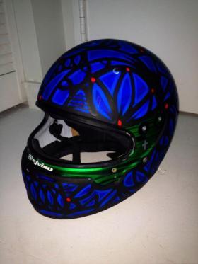 EJ Viso X Alexander Mijares painted helmet
